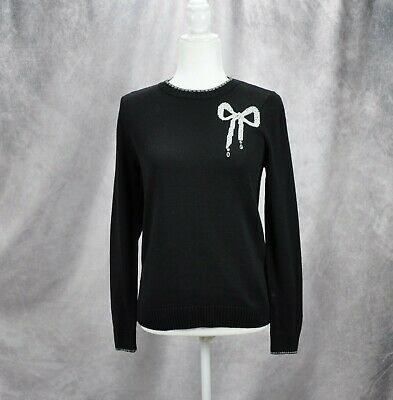Charter Club Womens Embellished Dazzling Bow Crew Sweater Black Size PS