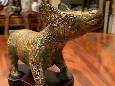 A Rare Chinese  Ming / Qing Dynasty Gilded Bronze Tapir with Wooden Stand.