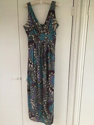 Blooming Marvellous maternity maxi dress peacock green blue purple size 14