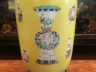 Large Chinese Qing Dynasty Yellow Ground Famille Rose Rouleau vase, Marked.
