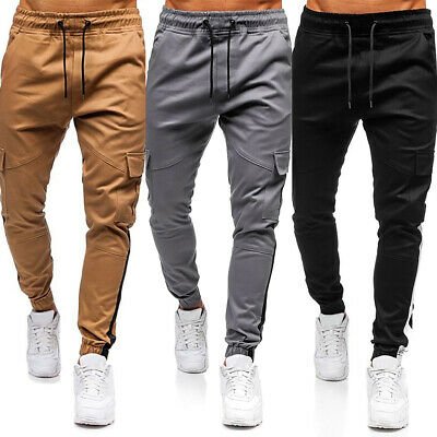Men's Elasticated Waist Cargo Winter Work Trousers Slim Fit Casual Bottoms Pants