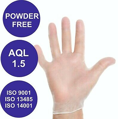 100 Disposable Clear Vinyl Gloves Blue Health Hygiene Protection Latex Free Hand
