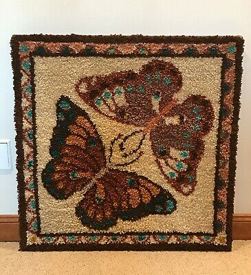 Vintage Finished Latch Hook Wall Hanging Double Butterflies for Home Decor