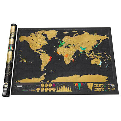 Deluxe Large Scratch Off World Map Poster Personalized Travel Gift Wander SL#