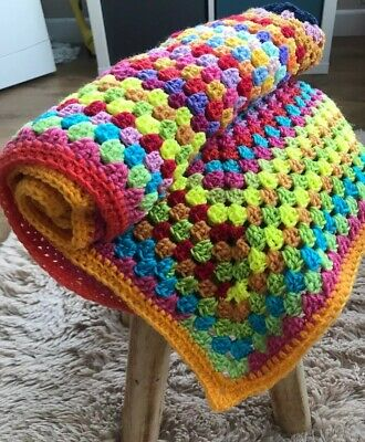 """Homemade Rainbow Coloured Crochet Granny Square Baby Blanket 26"""" By 26"""""""