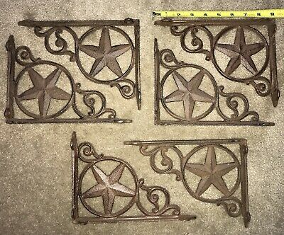 6 Cast Iron Star shelf brackets braces western ranch farm new
