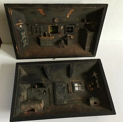 19thc Austrian Early DIORAMAS (2) Interior Scenes Old and Rare Signed Folk Art