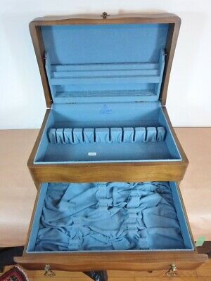 Birks Sterling Silver Plate Flatware Storage Chest Large Dark Walnut 24 Ps Gp2