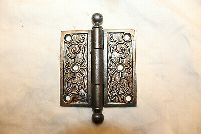 """Cannonball Tipped Antique Victorian Ornate Cast Iron Door Hinges 3-1/2"""" X 3-1/2"""""""
