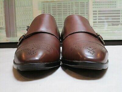 Men's Saks Fifth Avenue Connery Brown Double Monk Strap Loafers Size 10.5 M