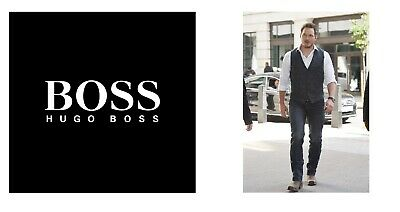 New Hugo Boss men grey suit designer smart vest wool waistcoat 40R Large £129