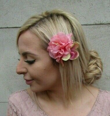Peach Pink Orchid Peony Flower Hair Clip Fascinator Rose Floral Headpiece 0126