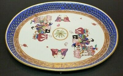 Antique Chinese Export Famille Rose Porcelain Reticulated Tray Charger UNUSUAL!?