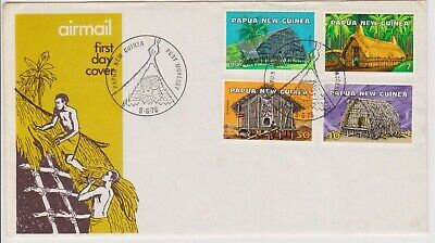 (K226-99) 1976 PNG FDC set of 4stamps Dwellings (CX)