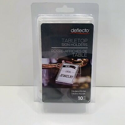 "Deflecto® Mini Tabletop Sign Holder, 4 1/8""H x 3""W x 1 5/8""D, Clear, Pack Of 10"