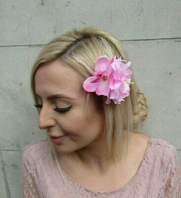 Light Pink Baby Pink Orchid Peony Double Flower Hair Clip Fascinator Floral 0129