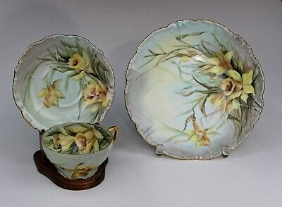 JP Jean Pouyat Limoges Hand Painted Cup & Saucer & Plate, Artist Signed Daffodil