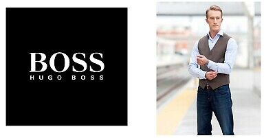 New Hugo Boss men brown suit designer smart vest wool waistcoat 40R Large £129