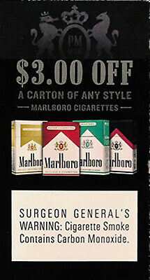 $3 OFF one carton of any style Marlboro cigarettes - expires 6/30/2020