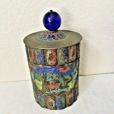 Asian Antiques,Cloisonne Enamel, Box, Opium, Brass, Peking Glass,1900-1940,China