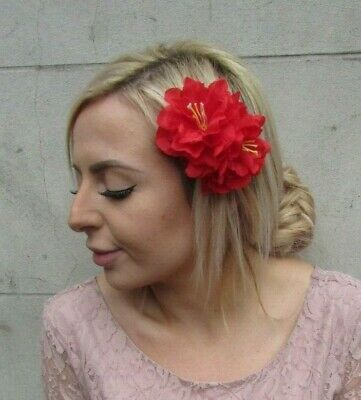 Double Red Peony Flower Hair Clip Floral Rockabilly 1950s Fascinator Rose 0135