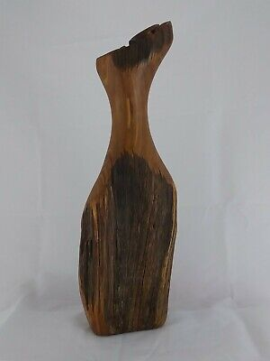 "Robert L Parker Vase Sculpture Hand Carved Carving Wood Wooden 18"" Tall"