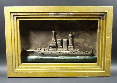 WWII ERA Folk Art Hand Carved Framed Cruiser Japan USA