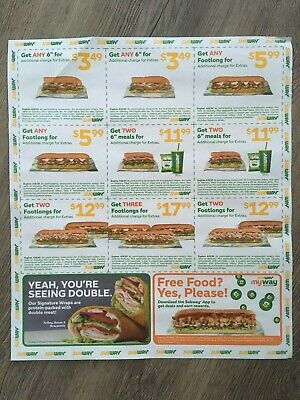 (12) Subway Food, Combo, Sub Sandwich Coupons Exp. 4/8/2020