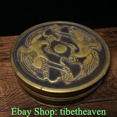 """5.6"""" Marked Old China Red Copper Gold Dynasty Palace Dragon Phoenix Sunrise Box"""