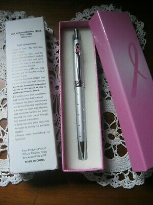 BNIB.Collectable AVON,Pink Ribbon Friendship Pencil.Beautifully Boxed.Bling!