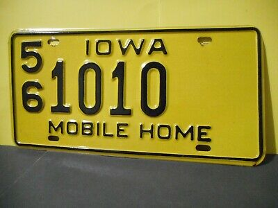 1970s Iowa Mobile Home License Plate,Tag,56 1010