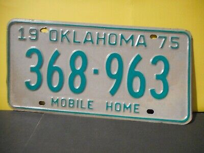 1975 Oklahoma Mobile Home License Plate,Tag,United States # 368-963