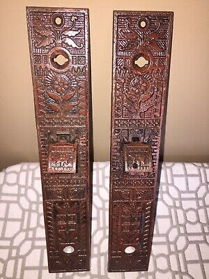 Antique Set Of (2) Victorian Eastlake Cast Iron Door Back Plates~Sargent & Co.