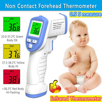 Non Contact Digital IR Infrared Forehead Thermometer Gun Adult Body Temperature+