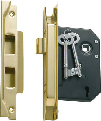 Tradco 1139 1138 rebated 3 lever mortice lock,polished brass 57 or 44 mm backset