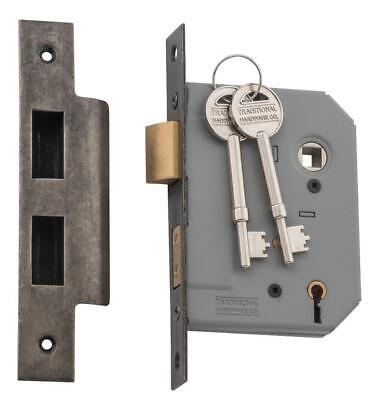 Tradco 6153 6152 5 lever mortice lock rumbled nickel,57 or 46 mm backset