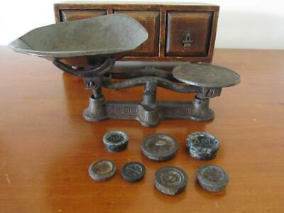 Antique Vintage Cast Iron KITCHEN SCALES with Tray & Weights
