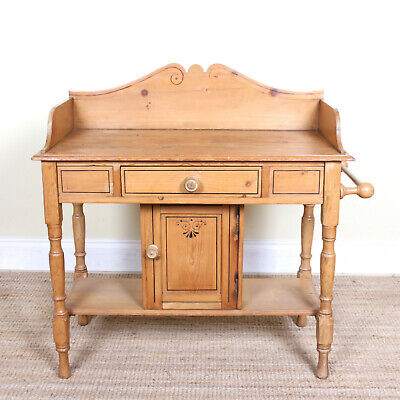 Antique Edwardian Pine Washstand Console Wash Stand Bathroom Hall Table