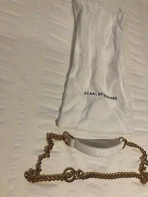 Scanlan Theodore White Leather And Chain Belt NWOT Size Small RRP$300