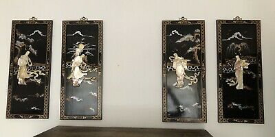 Vintage Japanese Black Laquer Inlaid Set Of Four Pictures