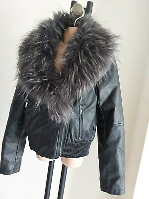 Girls candy Couture age 11 Faux LEATHER Black BIKER JACKET black fur collar