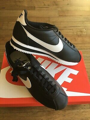 Nike Classic Cortez Leather Black/White Womens Shoes Brand New Size 9.5