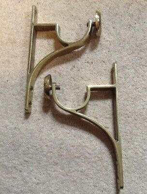 Pair Vintage Used Brass Curtain Pole Brackets Heavy Metal Quality Lounge Living