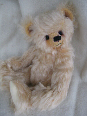 """Cute 11"""" Pale Blonde Hand-Made Mohair Teddy Bear- Fully Jointed, Glass Eyes"""