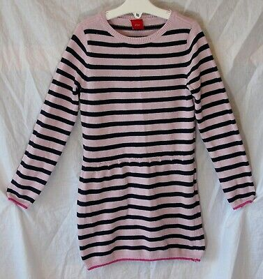 Girls S.Oliver Pink Black Stripe Thin Knit Long Sleeve Jumper Dress Age 5 Years