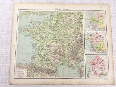 1898 French Map of France Physical Agricultural Climate 19th Century Antique
