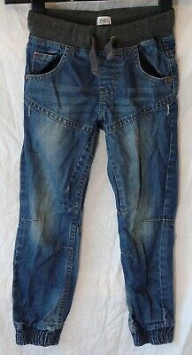 Boys F&F Blue Whiskered Denim Ribbed Waist Panelled Cuffed Jeans Age 6-7 Years