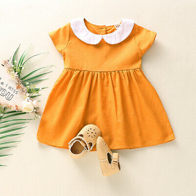 Cute Toddler Baby Kids Girls Summer Dress Princess Clothes Short Sleeve Sundress