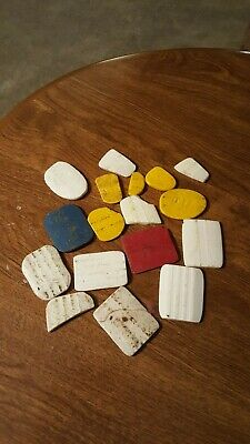 VINTAGE SEWING TAILOR CHALK LOT OF 15+ PIECES Colors Red,blue, White, Yellow