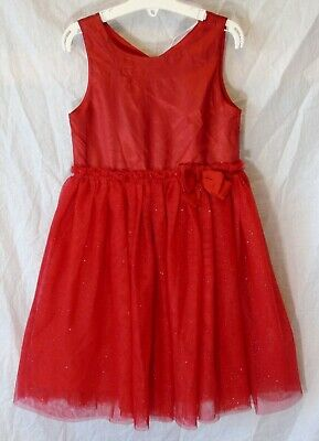 Girls H&M Vivid Red Sparkly Glitter Mesh Layered Lined Party Dress Age 6-7 Years